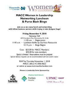 MACC Women in Leadership Networking Luncheon & PURSE BASH