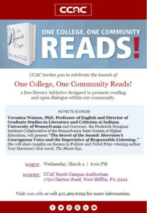 One College, One Community READS! @ CCAC South Campus Auditorium